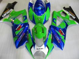 Carenados verde azul online-Juego de carenado para Suzuki GSXR1000 07 08 carenados de moto azul verde conjunto GSXR1000 2007 2008 OT03