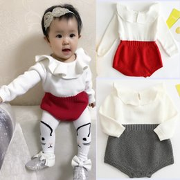 Wholesale Boys 4t Overalls - NEW 2017 Baby Rompers Autumn spring Toddler Baby Girl And Boys Clothings Ruffles Princess Girl Sweet Knitted Overalls Infant Romper A7539