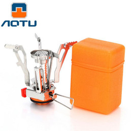Wholesale Kerosene Camp Stove - AOTU Ultralight Outdoor Backpacking Camping Stove Super Lightweight Folding Camping Gas Stove Mini Pocket Cooking Tool 062