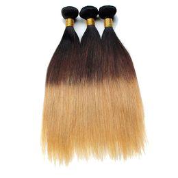 Wholesale Two Cheap Bundles Weave - Ombre Brazilian Virgin Hair Straight Two Tone 1B 27# Ombre Hair Extensions Cheap Brazilian Human Hair Bundles