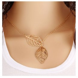 Wholesale Double Chain Necklace Gold - Explosive leaves necklace double leaf clavicle chain European and American jewelry female jewelry wholesale supplies