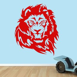 Wholesale Lion Head Wall Decal - Diamond level Brand Creative Lion Head Home Decor Wall Stickers PVC Customized Color Children Room Decoration