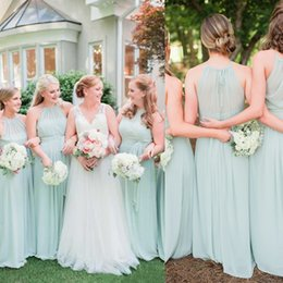 Wholesale Open Back Chiffon Wedding Dresses - 2017 Elegant Sage Green Chiffon Ruffles Long Bridesmaid Dresses Floor Length Open Back Boho Country Wedding Party Maid of Honor Gowns Formal