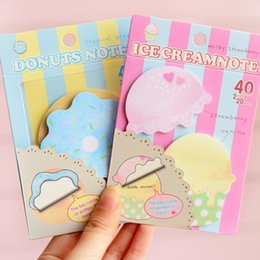 Wholesale Design Paper Pads - Wholesale- 1pcs lot Sweet Ice cream & Donuts design Notepad Funny Memo pad Paper sticky note Kawaii stationery office School supplies