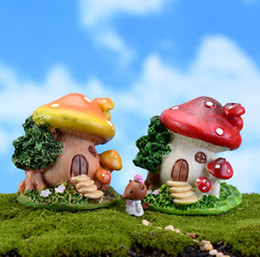 Wholesale Bonsai Cartoon - 2pcs cartoon mushroom house moss Micro Landscape Terrarium Jardin Decoration fairy garden miniatures gnome bonsai home ornaments