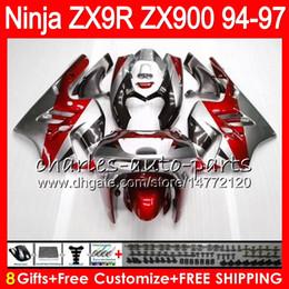 2019 ninja de prata 8Presentes 23Cores Para KAWASAKI NINJA ZX900 ZX9R 94 95 96 97 900CC 49HM18 Vermelho prata ZX-9R ZX900C ZX 9 R ZX 9R 1994 1995 1996 1997 kit de Carenagem ninja de prata barato