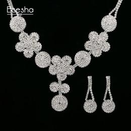 Wholesale Diamonds Big Necklace - Ecesha Crystal Bridal Jewelry Sets Big Flower Pendant Necklace&Drop Earrings Set Created Diamond Jewelry Set Wedding Accessories