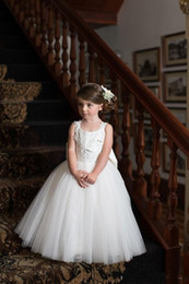 Wholesale Blue Full Skirt - New Arrival Sweety Backless with Oversize Bow 2017 Ball Gown Flower Girls Dresses Jewel sleeveless Full Appliques Tulle Tiered Skirts Dress