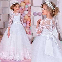 Wholesale Pure White Flower Girl Dresses - Pure White Tulle Flower Girls Dresses 2017 Princess Lace Long Sleeves A Line Appliques with Bow Sash Kids Formal Wear Gowns Girls Pageant