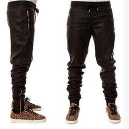 Pantalones negros altos online-Venta al por mayor- Nueva Kanye west Hip Hop grandes y altas Moda cremalleras jogers Pant Men Black Joggers danza urbana Ropa para hombre pantalones de imitación de cuero