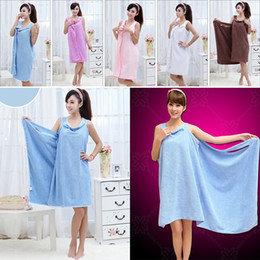 Wholesale body wrap towels wholesale - Magic Bath Towels Lady Girls SPA Shower Towel Body Wrap Bath Robe Bathrobe Beach Dress Wearable Magic Towel 9 Color Thick Style WX-T16