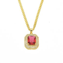 Wholesale Necklace Men 3mm Gold - Hip Hop 18k Gold Plated Iced Out Red Ruby Octagon Necklace Pendant with 3mm Chain Men Women Red Blue Ruby Necklace