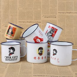 Wholesale Chinese Tea Mugs - Chinese Style Tea Cup Double Layer Mugs Enamel Material Heroic Figure Handle Creative Drink Kettle Yellow And White