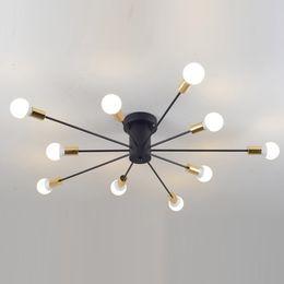 Wholesale Spider Ceiling Lamp - Creative Iron Spark Living Room Ceiling Lamp Bedroom Spider Ceiling Light Modern Nordic American Corridor Ceiling Light Fixtures