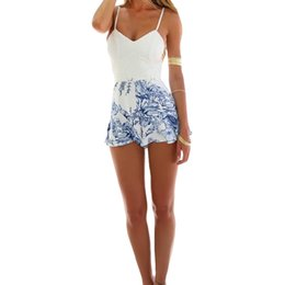 Wholesale Short Mini Rompers - Sexy Women Lace Crochet rompers womens jumpsuit Floral Print Adjustable Strap Zipper Back Short Macacao Feminino overalls White