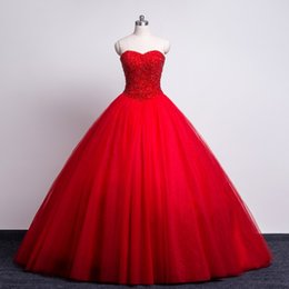Wholesale Red Garden Stones - Red Stones Ball Gowns Wedding Dresses 2017 Vestido De Noiva Sexy Sweetheart Real Photos Tulle Ruffles Tulle Lace up Photography Bridal Gowns