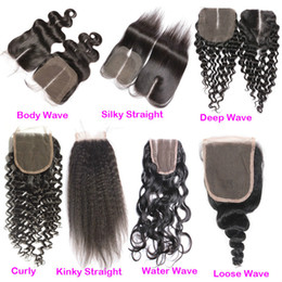Wholesale Indian Hair Weave For Cheap - Hot Sale 4x4 Peruvian Silk Straight Hair Closure Cheap Free Middle Three Part Top Lace Closures Pieces For Human Hair Weaves Bundles