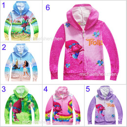 Wholesale Girl Princess Coat - 6 Styl Boys girl Trolls Moana Hoodies Sweatshirts children cartoon princess Long sleeve zipper Hoodie jacket kids coat B001