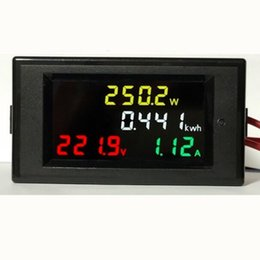Wholesale Ac Current Detector - by dhl fedex 50pcs lot Voltage Current Detector AC Voltmeter Ammeter180 Degrees Flawless color screen Display LED 100A