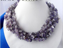 Wholesale Amethyst Freeform - 6Strands 18'' Freeform Amethyst Necklace