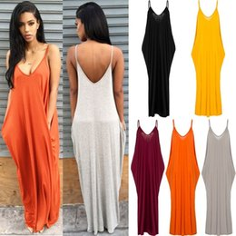 Wholesale Long Sun Dresses - Soft Milks Fiber Sleeve Pocket Diess Women Sexy Neck Baekless Sun Diess Lady's Beach Bofo Long Drees