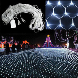 pink net christmas lights Coupons - Led net light 110v 220v holiday string light 1.5m*1.5m 2m*3m WARM WHITE RGBY Xmas wedding Fairy Twinkle decoration lamp