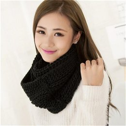 Wholesale Mohair Crochet Wrap - Wholesale-New Scarves Fashion Scarf Crochet Wrap Female Autumn Winter Long Shawl mohair Women Warm knitted Ring Solid Circle Blend Snood