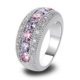 Wholesale Ring Pink Topaz - Women Rings Fashion Pink Topaz & Amethyst 925 Silver Band Ring Size 6 7 8 9 10 11 12 Round Cut New Jewelry Gift Wholesale