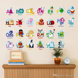 Wholesale Wall Decals Words - Wall Sticker Learn Puzzle Decal Fun Alphabet With Cartoon Animal For Kid Room Nursery School English Word Decor 3 1zx F R