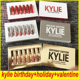 Wholesale Kylie Jenner brithday lip gloss KYLIE holiday lip golss Matte Liquid Lipstick Valentines DHL
