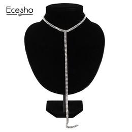Wholesale Long Strand Crystal Necklace - Ecesha Rhinestone Choker Crystal Gem Luxury Collar Chokers Necklace Women Long Chain Statement Necklace Chocker Wedding Jewelry