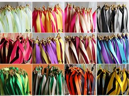 Wholesale Streamers Throws - Colorful Magic Wand Fairy Ribbon Wedding Ribbon Wands With Bell TWIRLING STREAMER Wedding Favors Wedding Decoration Party supplies