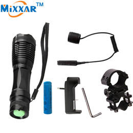 Wholesale Led Gun Torch - LED tactical Flashlights CREE XM-L T6 4000LM Lantern Linterna Torch Light Hunting Flash Light with Charger Gun Mount