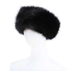 Naturaleza de piel online-10 colores para mujer de la piel de imitación diadema ajustable de lujo de invierno cálido Negro Blanco Muchachas de la naturaleza de la orejera Earwarmer