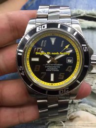 Wholesale Superocean Strap - Luxury Brand High Quality AAA Superocean 42 Abyss Automatic Men's Watch A17364 Black Yellow Dial Stainless Steel Strap Gents Sports Watches