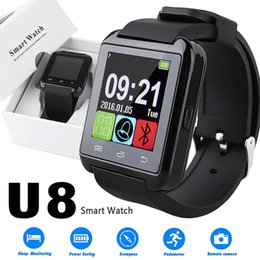 Wholesale White Male Watches - U8 Smart Watch Bluetooth Smartwatches Touch Screen Wirst Watches Without Altimeter For Android Smartphone IOS with Retail Package