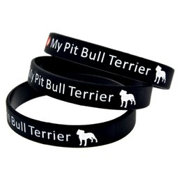 Wholesale Pit Terriers - Wholesale Shipping 100PCS Lot I Love My Pit Bull Terrier Silicon Wristband, Wear This Bracelet To Show Your Difference