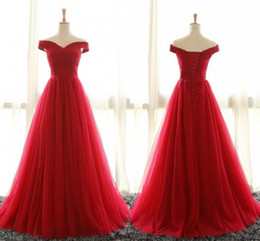 Wholesale Cheap Royal Blue T Shirts - Cheap Off Shoulder Red Tulle Evening Dresses Party Gowns 2017 Sweep Train Pleated Plus Size Corset Formal Prom Dress