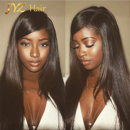 Wholesale Natural Hairline - JYZ Brazilian Silky Straight Lace Front Human Hair Wigs For Black Woman 130 Density Glueless Full Lace Wigs with Baby Hair Natural Hairline