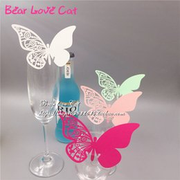 Wholesale Deep Purple Wedding Decorations - 60PCS DIY Place Card butterfly Cups Glass Wine Customized Wedding Name Cards Laser Cut Pearl Paper Card Birthday Party Decoration