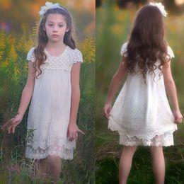 Wholesale Cheapest Girls Dresses - 2017 Summer Beach Garden Boho Flower Girl Dresses Lace Princess Cap Sleeves Short Kids Formal Wear Gowns Cheapest MC0966