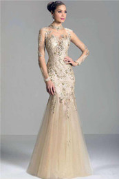Wholesale High Neckline T Shirt - 2017 Mermaid Long Sleeve Charming Janique Formal evening dresses mermaid Illusion High Neckline Lace Appliques Beads Women Party Gown