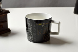 Wholesale Square Ceramic Cup - 2015 Starbucks New York Times Square mug 14ozL limited edition Classic black ceramics Coffee cup gift