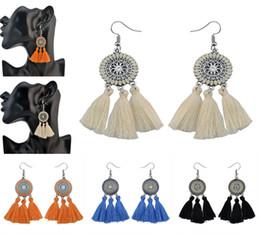 Wholesale Diamante Flower Earrings - 5 Colors Silver Flower Alloy Diamante Thread Tassel Pendant Earrings Retro Party Tassel Ear Drop For Women Jewelry B747L