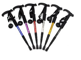 Wholesale carbon canes - in2017 Cleye aluminum alloy four sections avoid shock, straight handle, hiking staff, cane walking, outdoor goods manufacturers direct sales