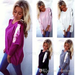 Wholesale Glitter Sweater - Sequins Sweater Knitted Tops Fashion Glitter Shirts Loose Sweaters Women Sexy Long Sleeve Blouse Plus Size Sweaters Women's Clothing H286