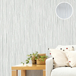 Wholesale textured wallpaper room - Wholesale- Plain Classic Silver Grey Vertical Stripes Wallpaper Textured Embossed Wall Paper For Room Decor