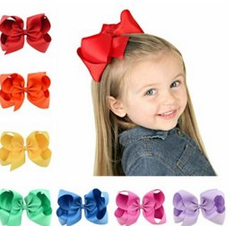 Wholesale Ribbon Pins - Baby Girl Hair Bows Clips 6 Inch Cute Hair Pin Grosgrain Ribbon Big Bows Hairpins for Kids Girl Hair Accessories photography props T4474
