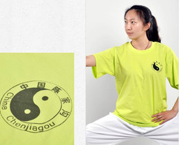 Wholesale Cultural Shirts - Spring and summer exercises practice loose round collar cultural shirt male martial arts cotton T-shirt female tai chi clothing short-sleeve
