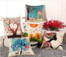 Wholesale Multi Color Spot Light - Fashion Cartoon print pillow sofa flax pillow The cushion The pillow core factory Spot supply 45*45cm